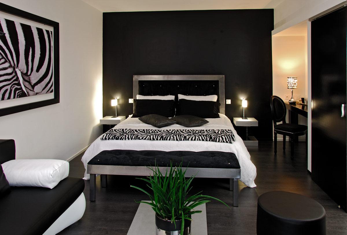 Chambre Noir Blanc Et Or chambre d'hôtes rodez / onet le château : la chambre noir et